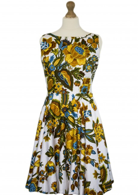Gold and Blue Floral Puffball circle skirt Dress