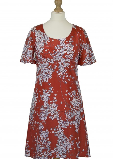 Red Oriental Day Dress Front