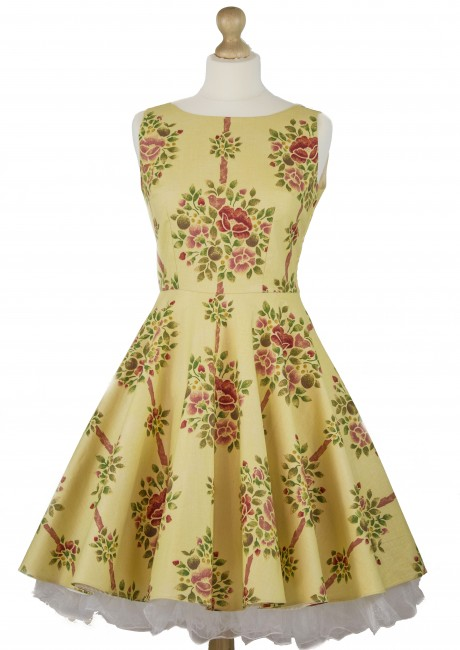 Trellis Print Circle Skirt Dress Front