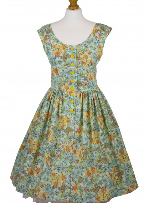 Tropical Print Cap Sleeve Dress Front with Petticoat
