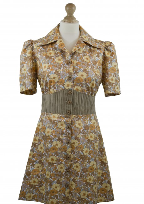 Brown Floral and Corduroy Mini Shirt Dress Front