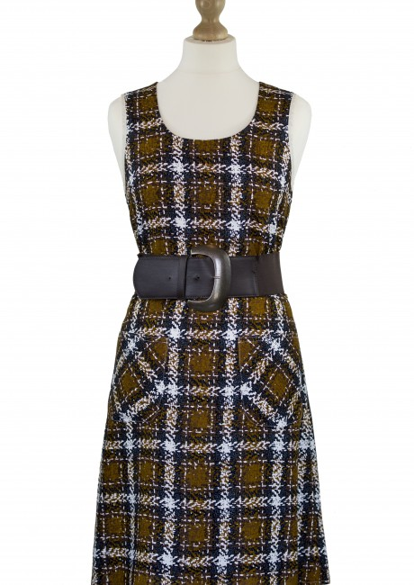 Brown Plaid Shift Dress Front with Belt