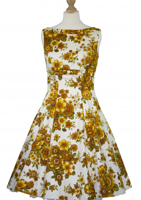 Golden Florals V-back Flared Dress Front with Petticoat