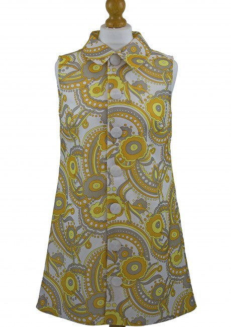 Psychedelic Paisley Collared Shift Dress Front