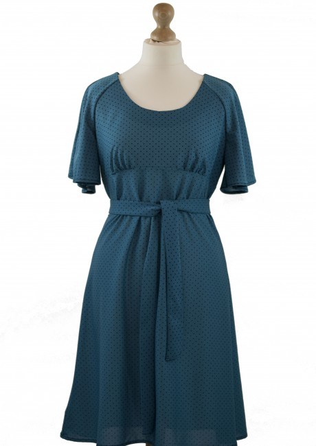 Teal Micro Dot Day Dress with Belt tie