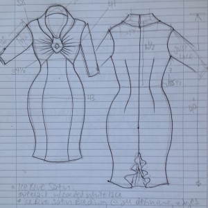First sketch for pattern drafting