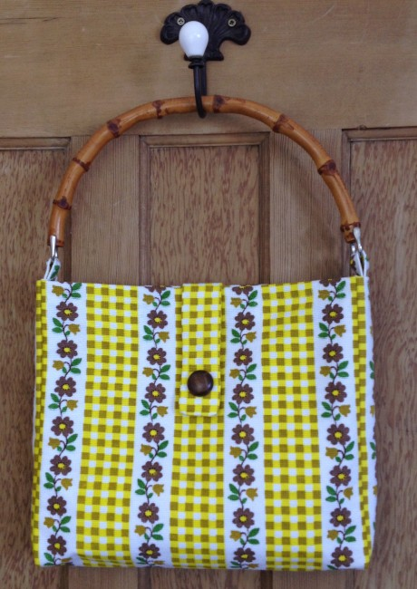 Gingham and Floral Mustard and Brown Bamboo handle handbag front